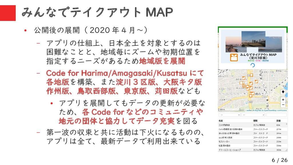 6 / 26 みんなでテイクアウト MAP ● 公開後の展開( 2020 年 4 月~) – ...