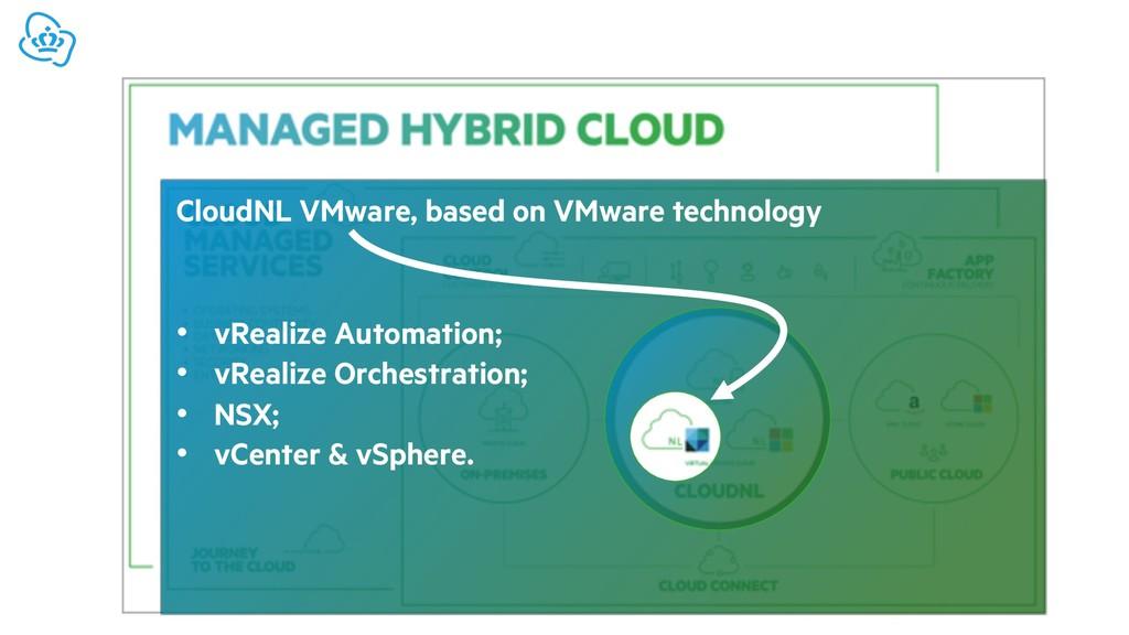 CloudNL VMware, based on VMware technology • vR...