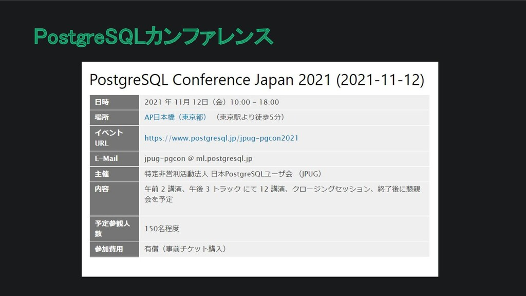 PostgreSQLカンファレンス