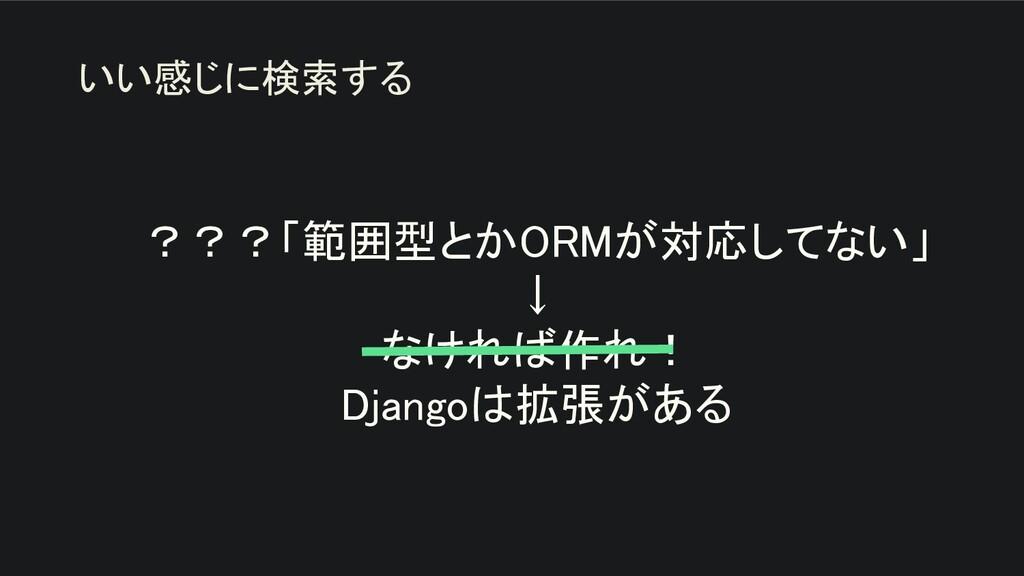 ???「範囲型とかORMが対応してない」 ↓ なければ作れ! Djangoは拡張がある...