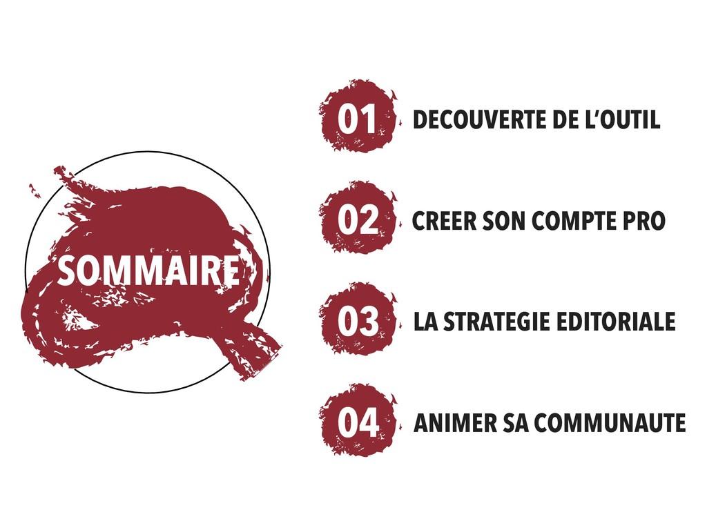 SOMMAIRE 01 DECOUVERTE DE L'OUTIL CREER SON COM...