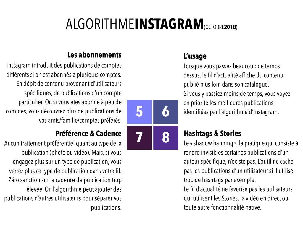 ALGORITHMEINSTAGRAM(OCTOBRE2018) Les abonnement...