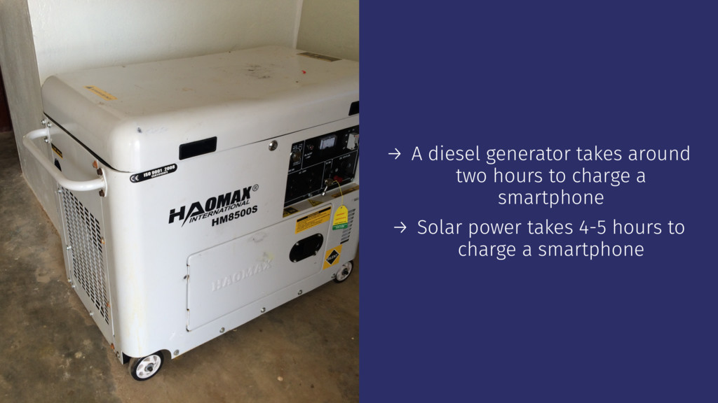 → A diesel generator takes around two hours to ...