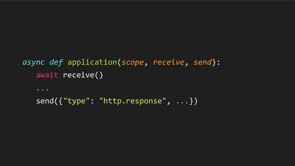 async def application(scope, receive, send): aw...