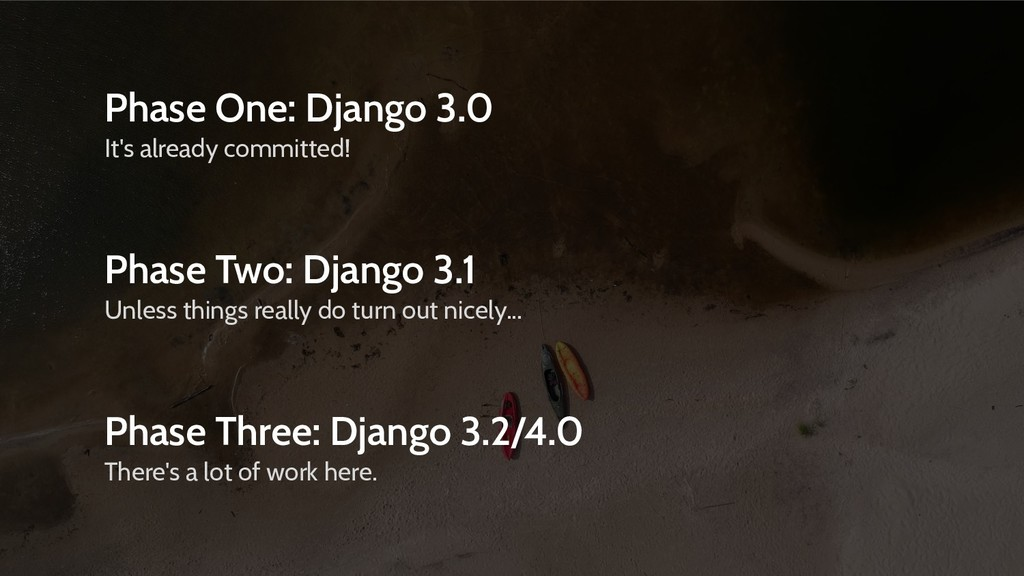 Phase One: Django 3.0 It's already committed! P...
