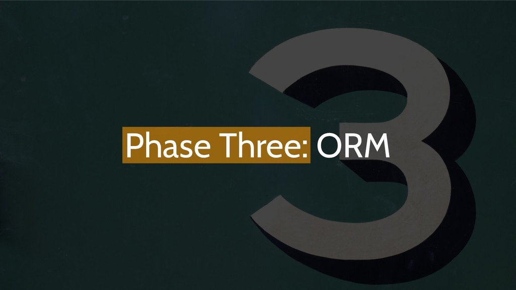 Phase Three: ORM