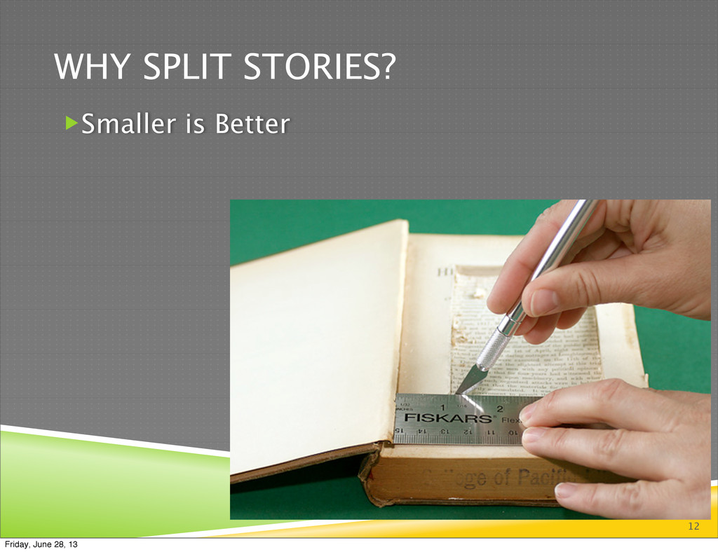 WHY SPLIT STORIES? 12 Smaller is Better Friday...
