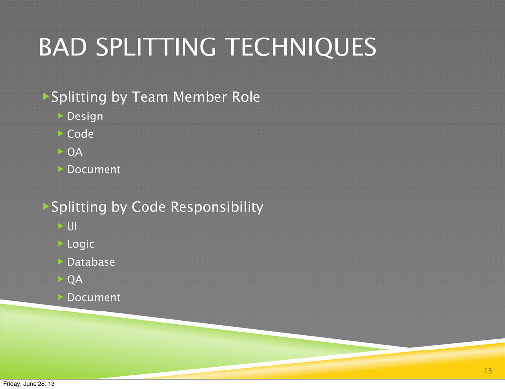 BAD SPLITTING TECHNIQUES Splitting by Team Mem...