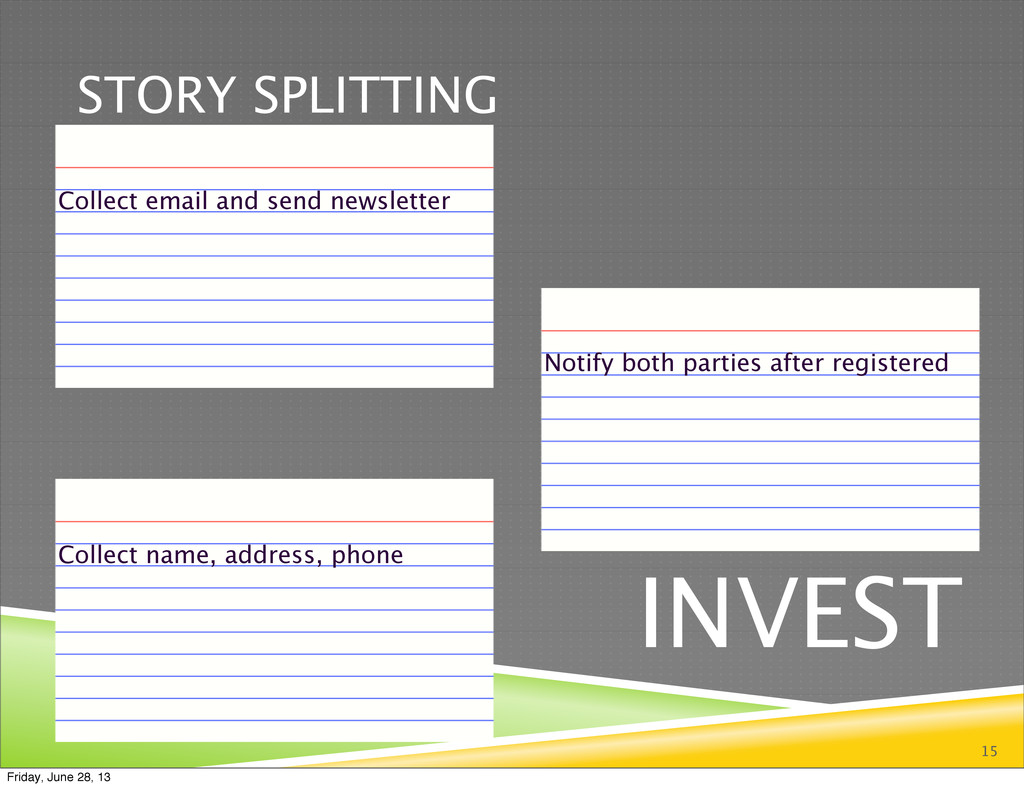 STORY SPLITTING 15 INVEST Collect email and sen...