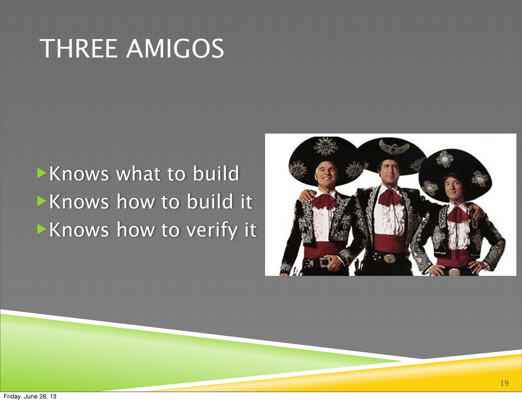 THREE AMIGOS 19 Knows what to build Knows how...