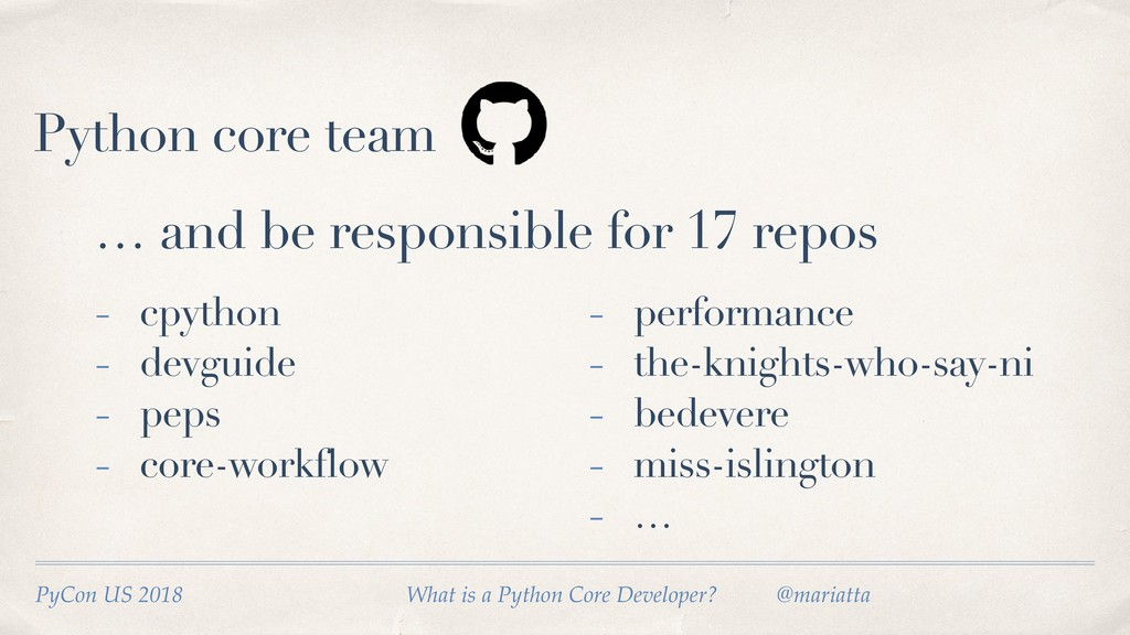 Python core team … and be responsible for 17 re...