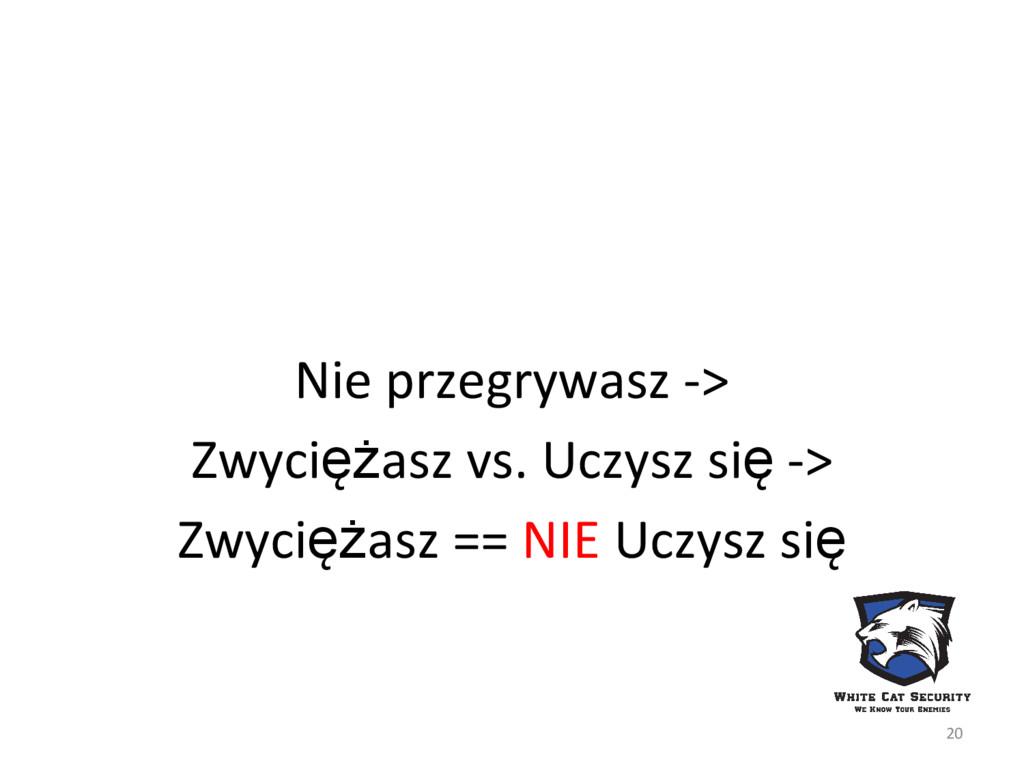 Nie przegrywasz -> Zwyciężasz vs. Uczysz się ->...