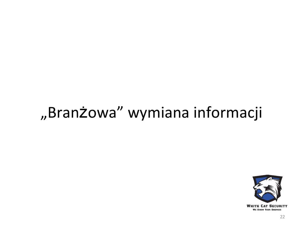 """""""Branżowa"""" wymiana informacji 22"""