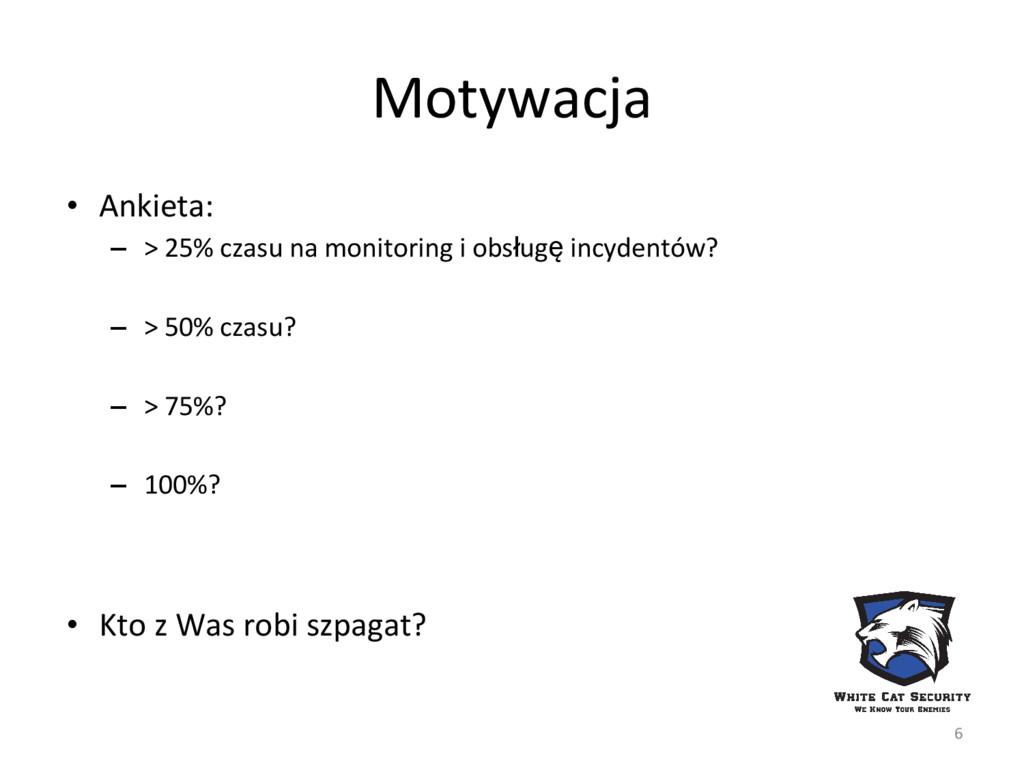 Motywacja • Ankieta: – > 25% czasu na monitorin...