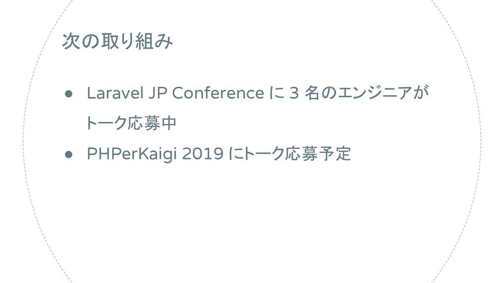 次の取り組み ● Laravel JP Conference に 3 名のエンジニアが トーク...