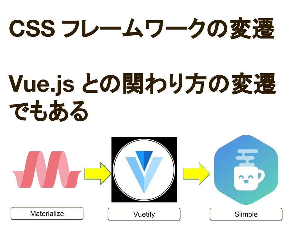 Materialize Vuetify Siimple CSS フレームワークの変遷 Vue....