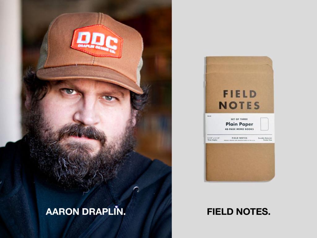 AARON DRAPLIN. FIELD NOTES.