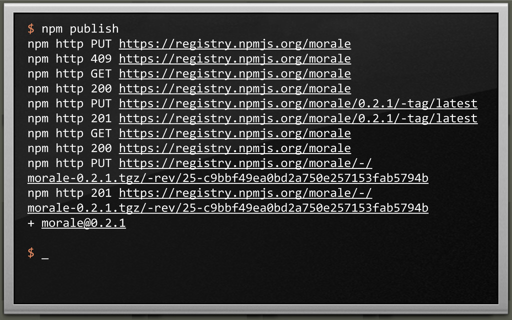 $ npm publish npm http PUT https...