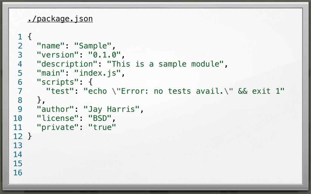 "./package.json { ""name"": ""Sample"", ""version"": ""..."