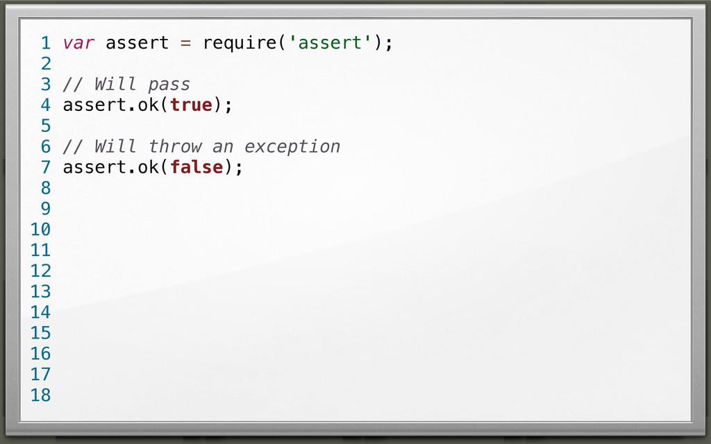 var assert = require('assert'); // Will pass as...