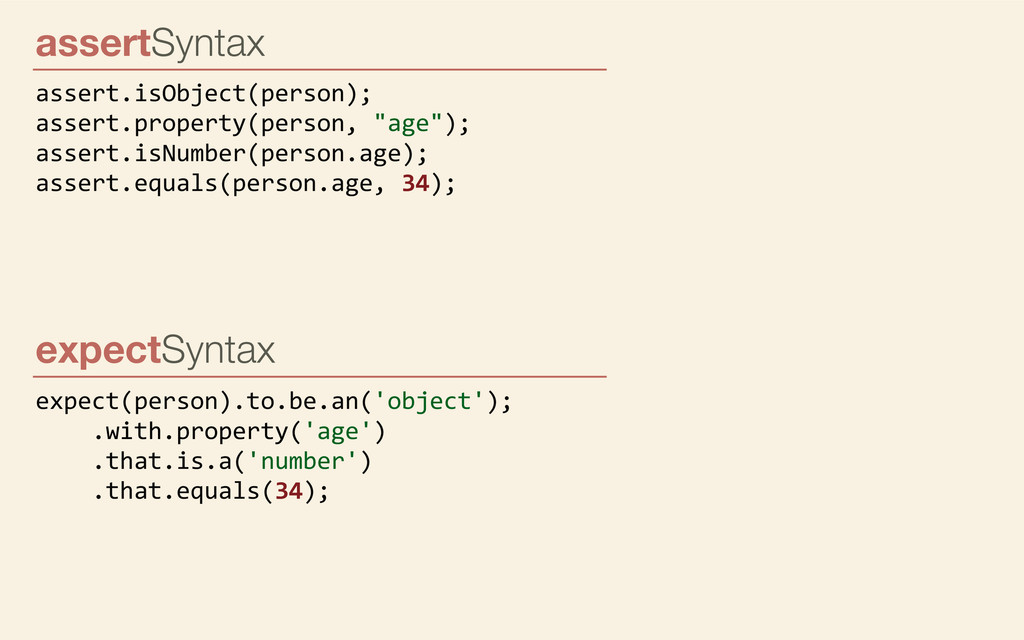 expectSyntax expect(person).to.be.an('object');...