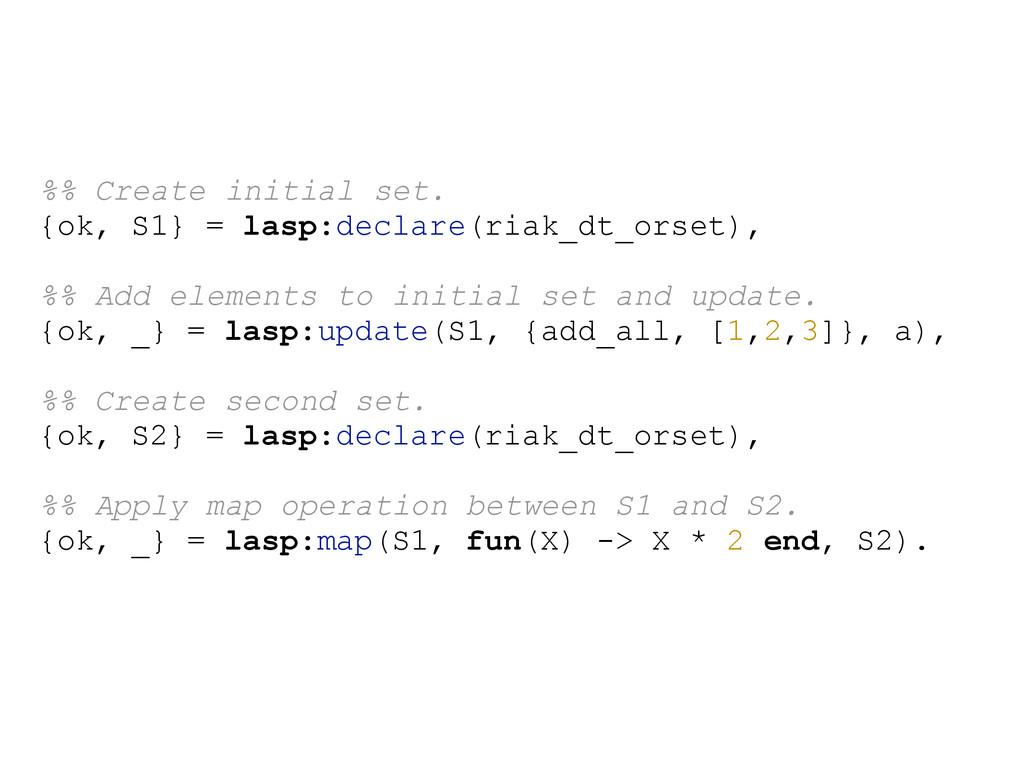 %% Create initial set. {ok, S1} = lasp:declare(...