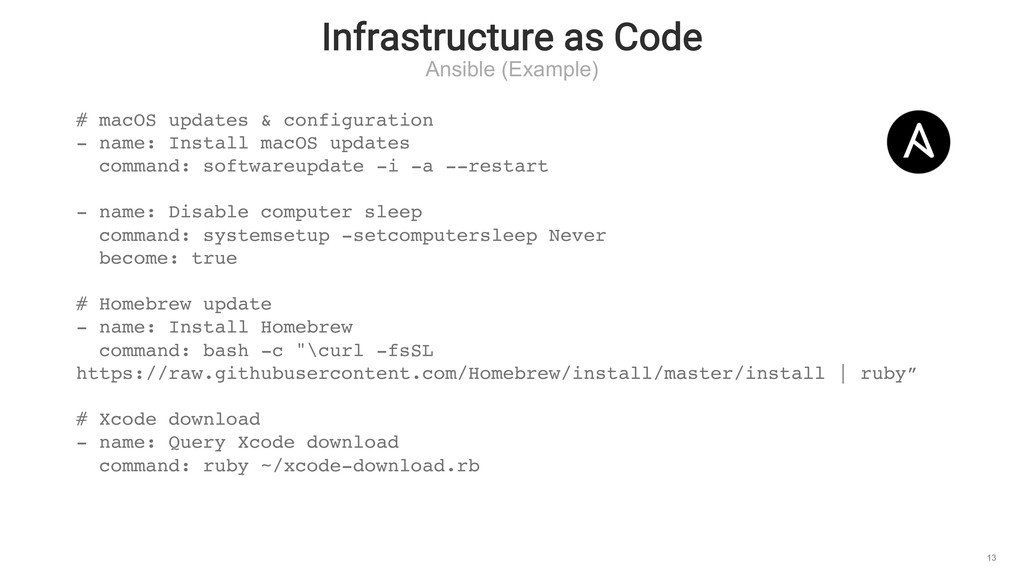 Infrastructure as Code Ansible (Example) 13 # m...