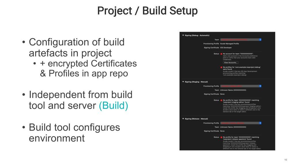 Project / Build Setup 16 • Configuration of bui...