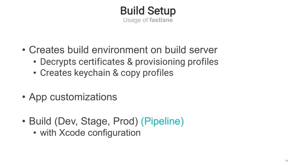 Build Setup Usage of fastlane 19 • Creates buil...