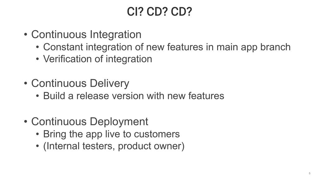 CI? CD? CD? 5 • Continuous Integration • Consta...