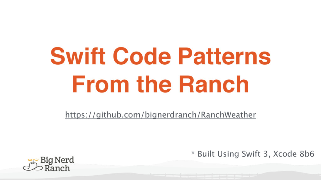 Swift Code Patterns From the Ranch https://gith...