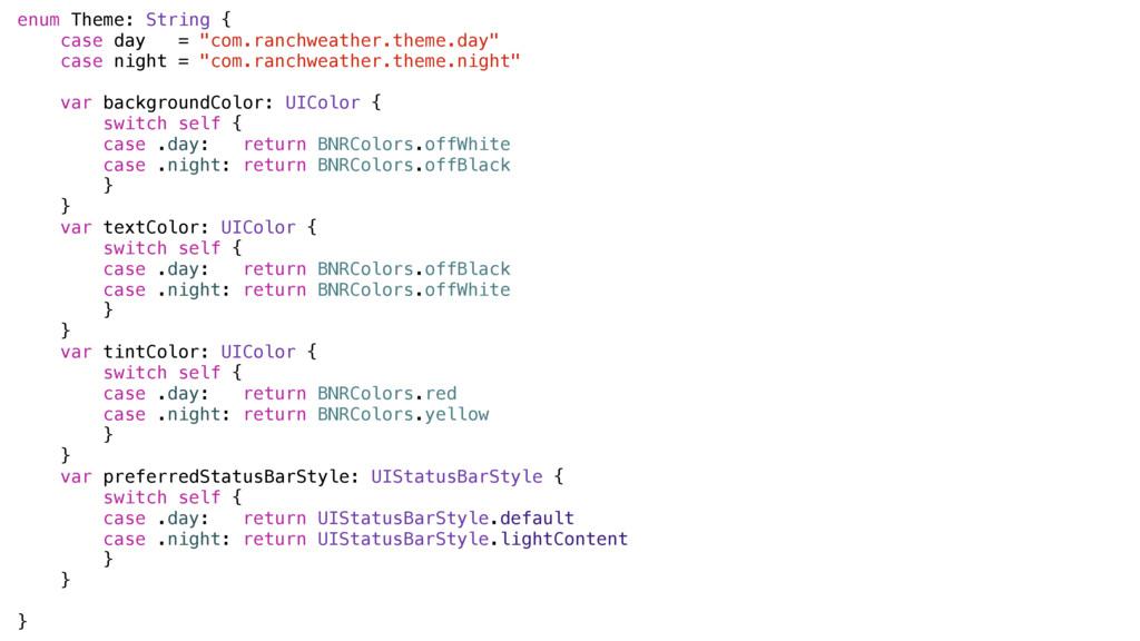 """enum Theme: String { case day = """"com.ranchweath..."""