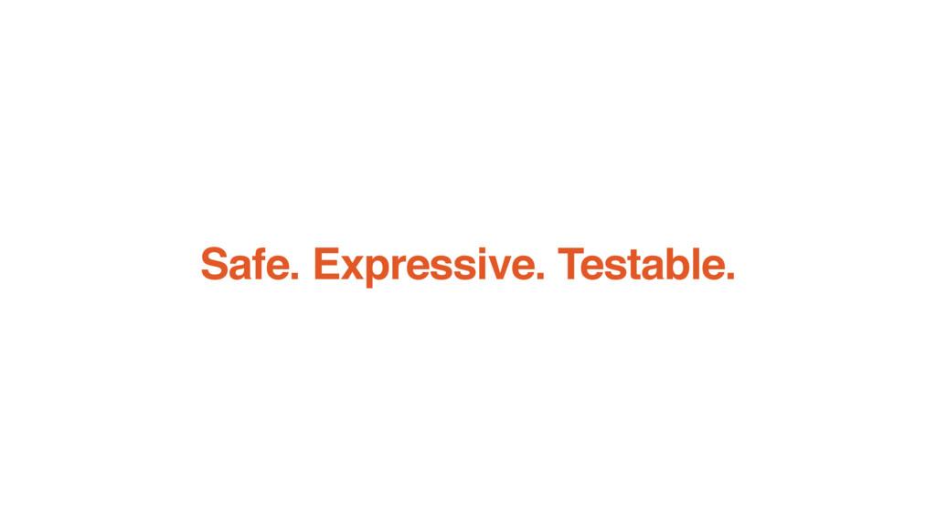Safe. Expressive. Testable.