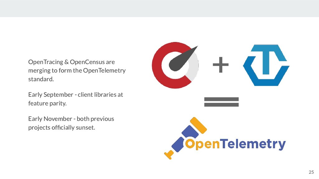 25 OpenTracing & OpenCensus are merging to form...