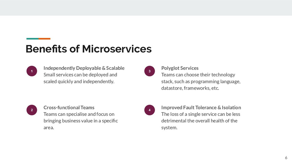 Benefits of Microservices 6 1 Independently Depl...
