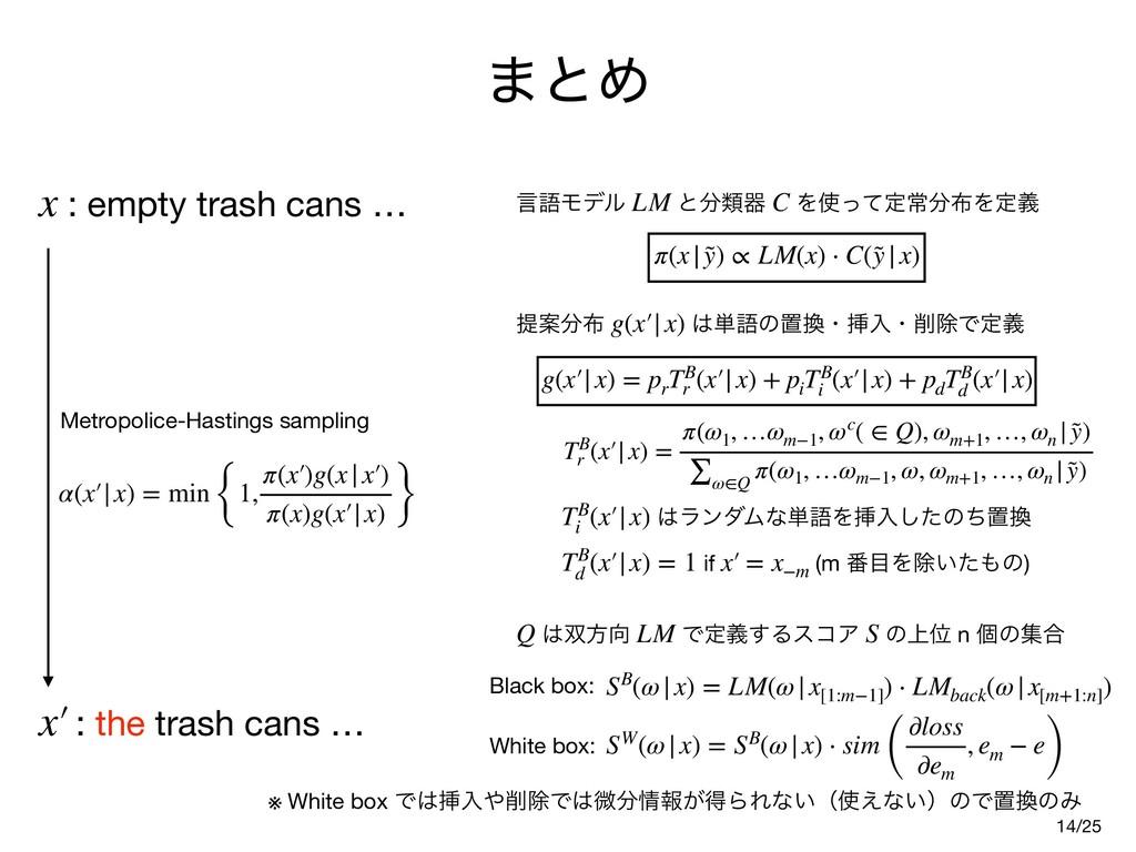 ·ͱΊ 14 : empty trash cans … x α(x′|x) = min {1,...