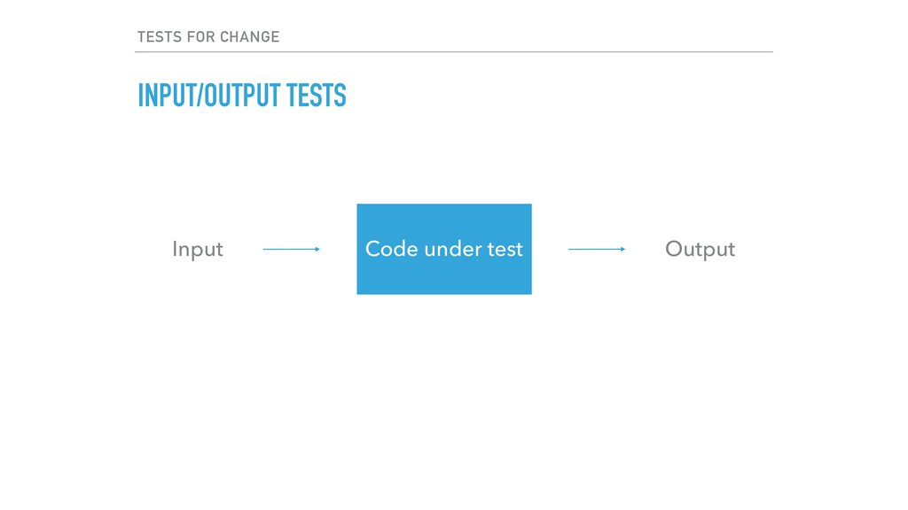 TESTS FOR CHANGE INPUT/OUTPUT TESTS Input Outpu...