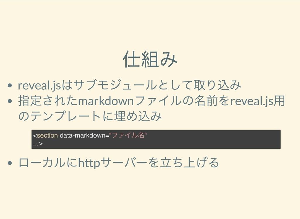 仕組み 仕組み reveal.js はサブモジュールとして取り込み 指定されたmarkdown...