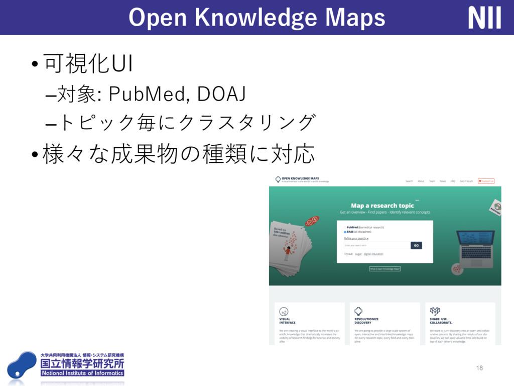 •可視化UI –対象: PubMed, DOAJ –トピック毎にクラスタリング •様々な成果物...
