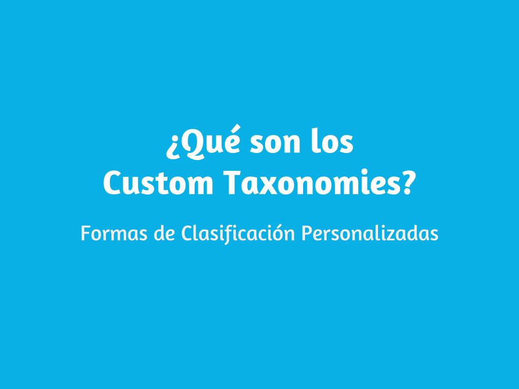 ¿Qué son los Custom Taxonomies? Formas de Clasi...