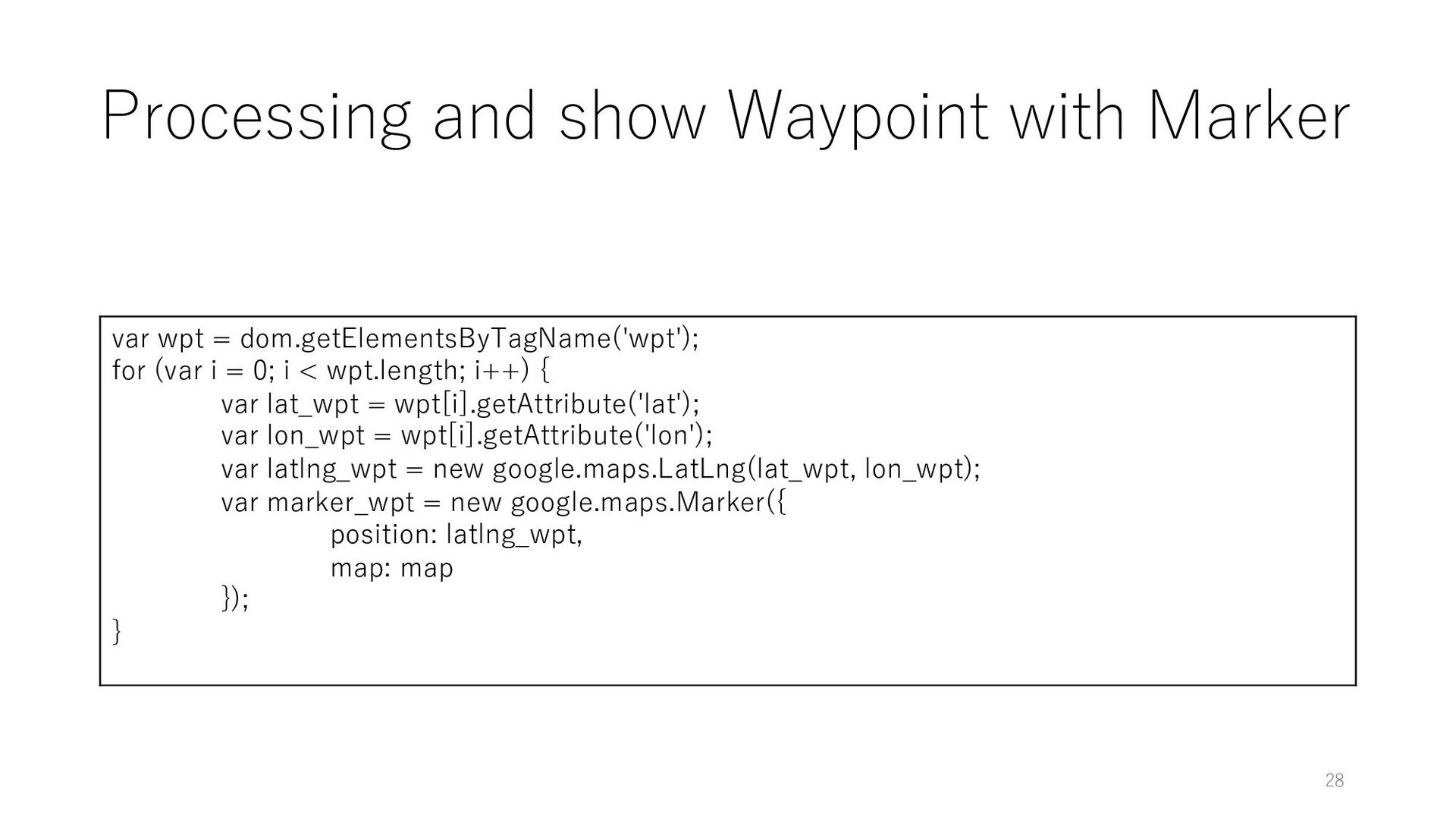 Processing and show Waypoint with Marker var wp...