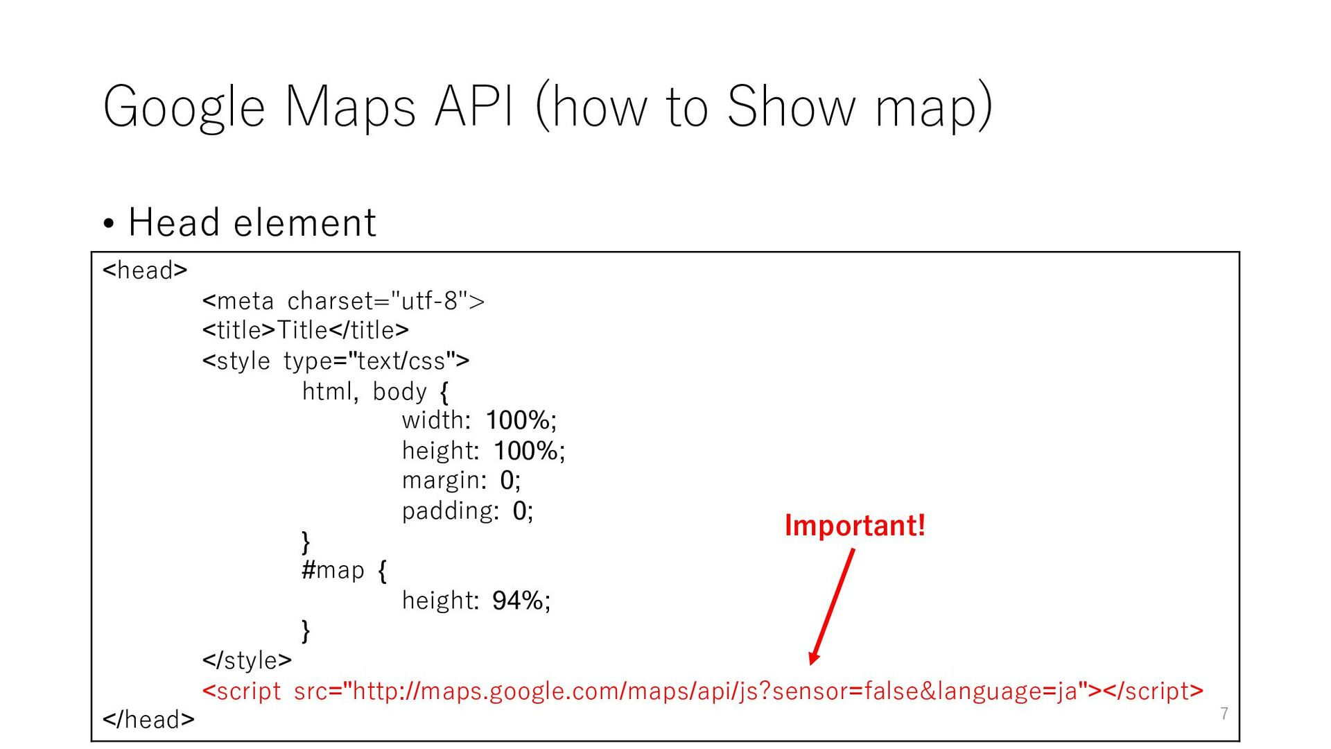 Google Maps API (how to Show map) • Head elemen...
