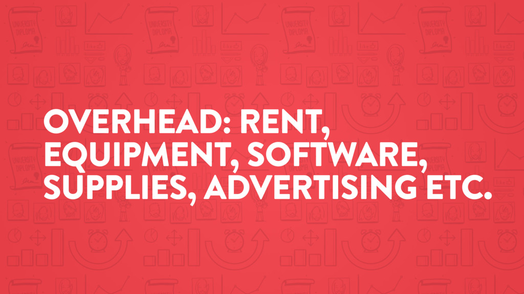 OVERHEAD: RENT, EQUIPMENT, SOFTWARE, SUPPLIES, ...