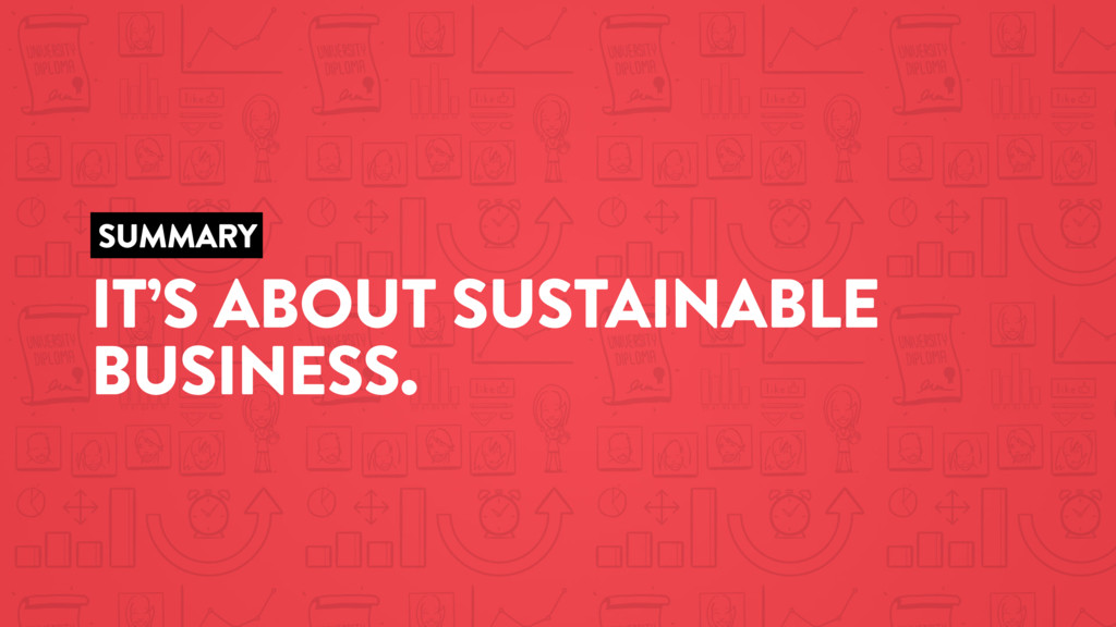SUMMARY IT'S ABOUT SUSTAINABLE BUSINESS.