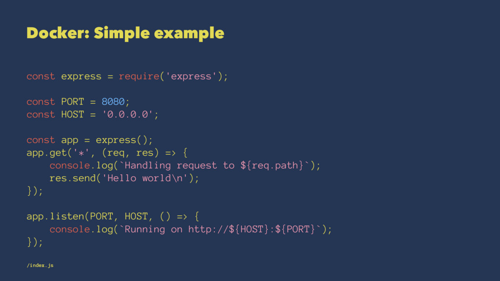 Docker: Simple example const express = require(...