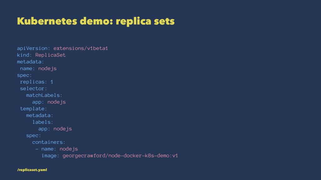 Kubernetes demo: replica sets apiVersion: exten...