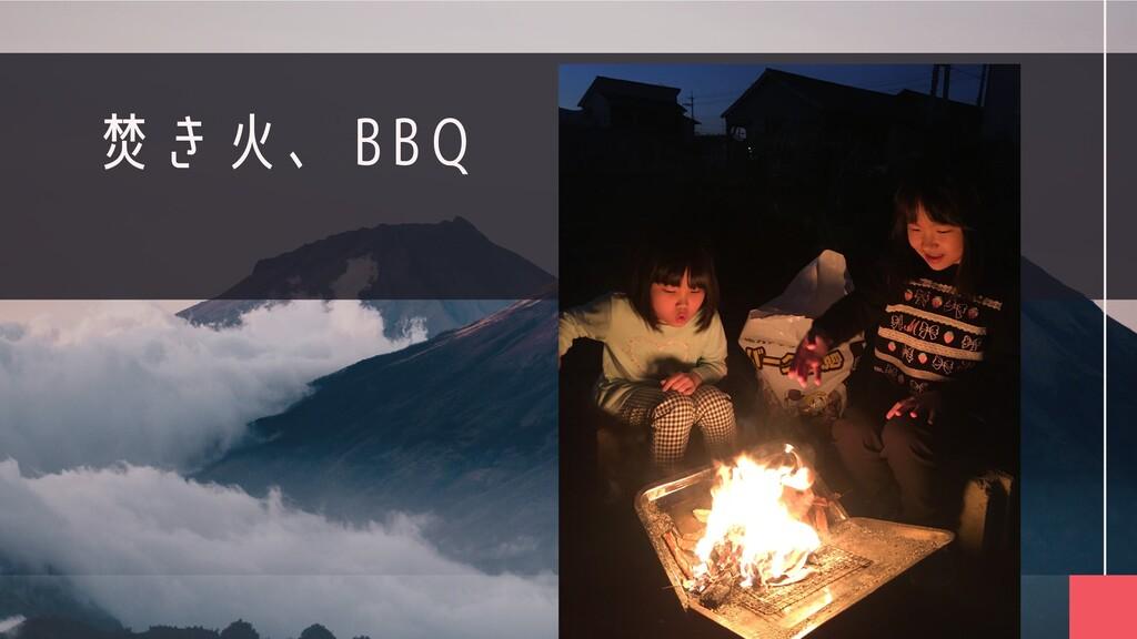 焚き火、BBQ