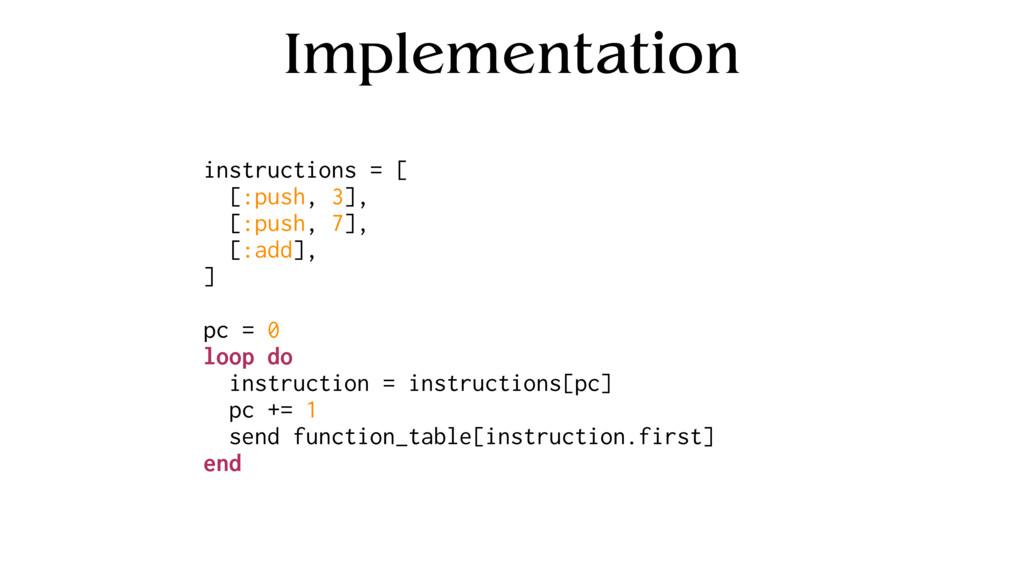 Implementation instructions = [ [:push, 3], [:p...