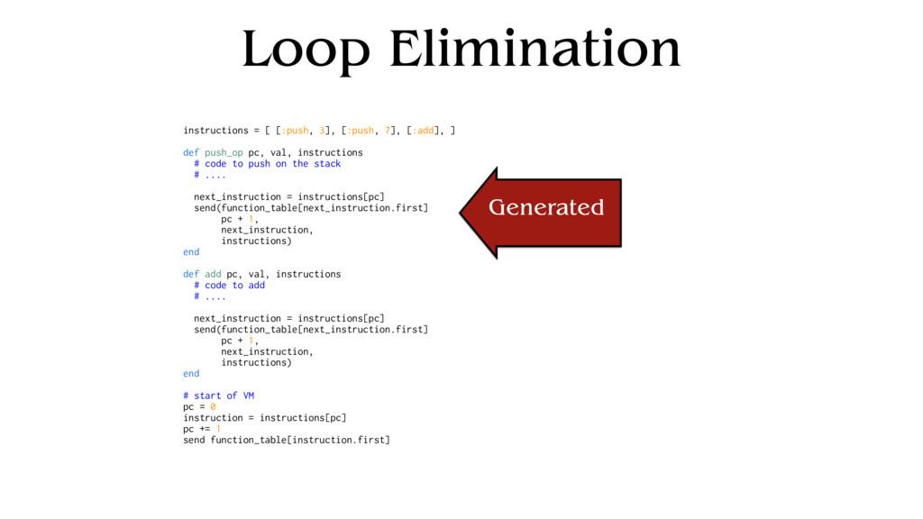 Loop Elimination instructions = [ [:push, 3], [...