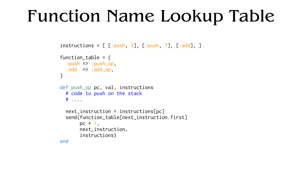 Function Name Lookup Table instructions = [ [:p...